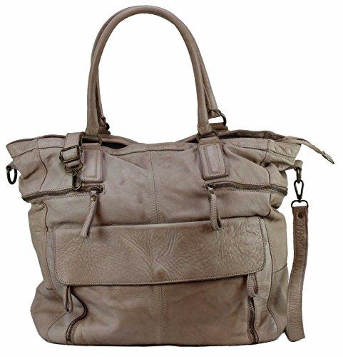 BZNA Bag Boney beige Italy Designer Damen Handtasche Ledertasche Schultertasche Tasche Leder Shopper Neu