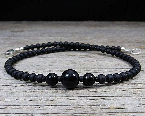 Black Onyx Ankle Bracelet with Sterling Silver Clasp