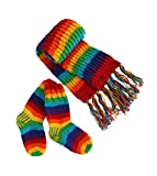 Rainbow woollen Long scarf and socks set, Hand Knitted Lounge Winter - Mens Womens