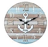 Reloj de Pared Decorativo de Madera Multicolor Ancla Marinera a Elegir. Adornos. Decoración Hogar. Muebles Auxiliares. Menaje . Regalos Originales. 34 x 4 x 34 cm. (Ancla Blanca)