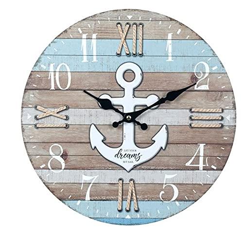 Reloj de Pared Decorativo de Madera Multicolor Ancla Blanca.Adornos. Decoración Hogar. Muebles Auxiliares. Menaje . Regalos Originales. 34 x 4 x 34 cm.