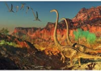 HD 7x5ft写真の背景ブロントサウルス翼竜ジュラ紀恐竜ロックキャニオン木写真の背景背景写真ビデオパーティーキッズポートレート写真スタジオ小道具