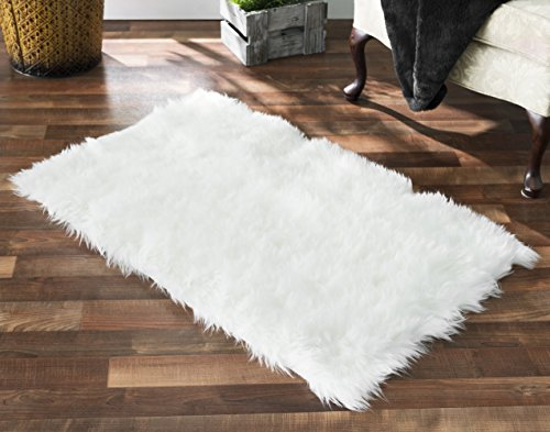 "Softest French White Sheepskin Faux Fur Shag Rug Feels & Looks Real, Without Animal Cruelty. Perfect for Photographers Designers & Your Bedroom Living Room or Nursery | Made in France 2x4 (27""x43"")"