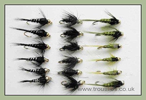 18Gold Kopf Nymphe Forellenangeln Fliegen Olive und Blacks–Größe 10/12, Sinkers