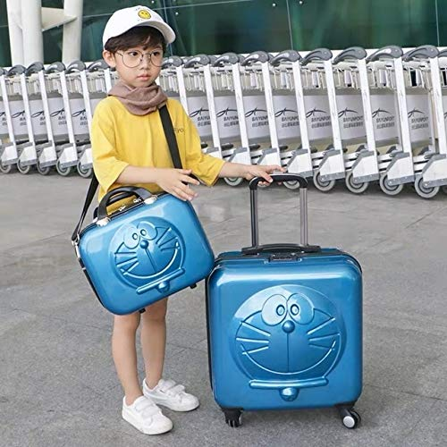 Mdsfe New Children Cartoon Luggage 3D Cat Luggage Rolling Wheels Trolley Suitcase Bag Cute kids Suitcase with wheels - Blue Set, 18'