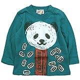 《春秋対応》 GARACH(ギャラッチ) 天竺クレヨンタッチパンダ長袖Tシャツ 120cm/Gn NO.AH-1731404