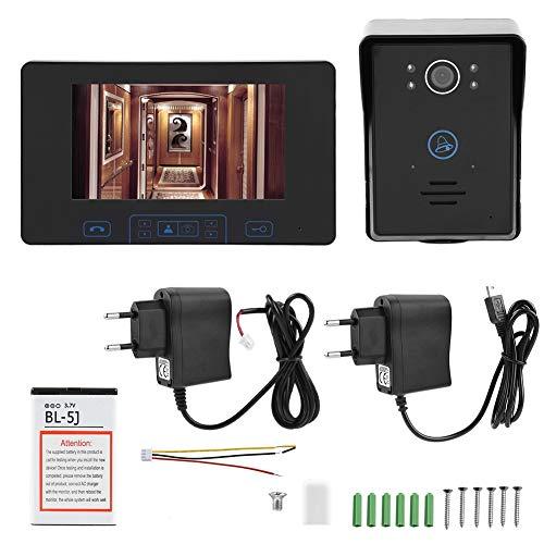 Vikye Videoportero con intercomunicador, cámara inalámbrica de 7 Pulgadas Timbre con Huella Digital 2.4GHz Pantalla de visualización Digital Adecuado para Villas, hoteles(Enchufe de la UE)