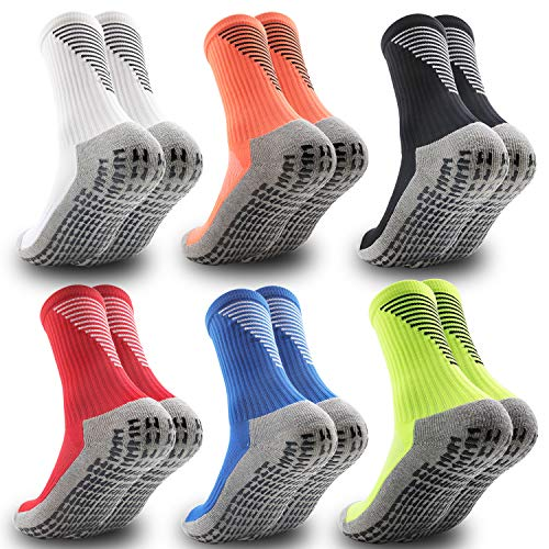 Dee Plus Anti Rutsch Fußball Socken rutschfeste Sportsocken Basketballsocken | One Size EU 38-46 | Grip Fußballsocken Tape Fussball Socken | Atmungsaktive | Yoga Socken Stoppersocken Damen & Herren