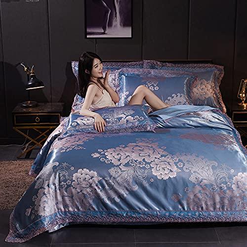 funda de edredón de 105,Juego de cuatro piezas de seda de hielo de verano europeo, seda fresca seda jacquard, ropa de cama 1.8m2.0 ropa de cama, habitación de dormitorio adecuado cumpleaños día de la