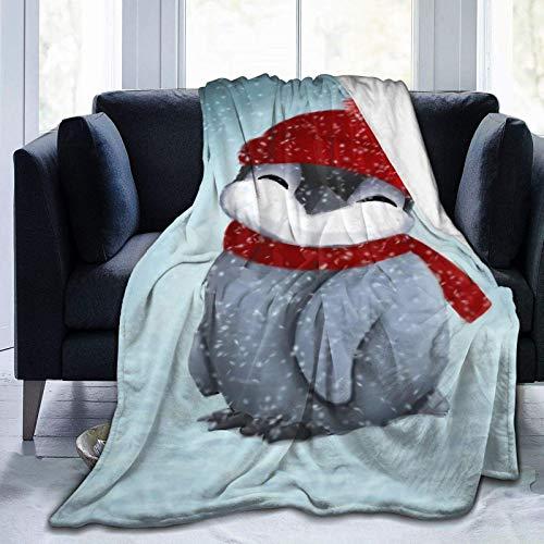 Mantas espirales de pingüino bebé usadas para camas Sofás cálido y cómodo franela de microfibra mantas ligeras (hombres, mujeres)