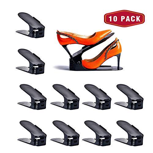 Yashong Shoe Slots Organizer, 10PCS Adjustable Double Layer Stack Shoe Rack, 50% Space-Saving Storage Rack Holder, Black