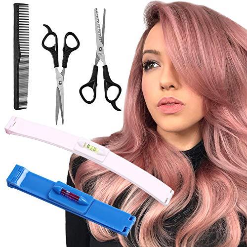 YMHPRIDE 5 piezas de herramientas de corte de cabello, herramienta de corte de cabello profesional para el hogar, kits de estilo de recortadora para el hogar de bricolaje para capas, flequillo(azul)