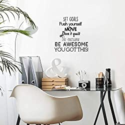 "Vinyl Wall Art Decal - Set Goals, Push Yourself, Don't Quit - 24"" x 23"" - Positive Fitness Healthy Lifestyle Quote Sticker for Gym Crossfit Fitness Yoga Ballet Office Work Decor"