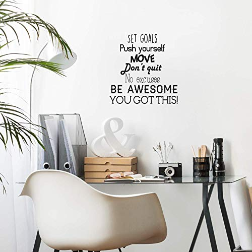 Vinyl Wall Art Decal - Set Goals, Push Yourself, Don't Quit - 24