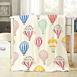 Mugod Balloon Throw Blanket Cute Watercolor Hot Air Balloons Pattern Decorative Soft Warm Cozy Flannel Plush Throws Blankets for Baby Toddler Dog Cat 30 X 40 Inch