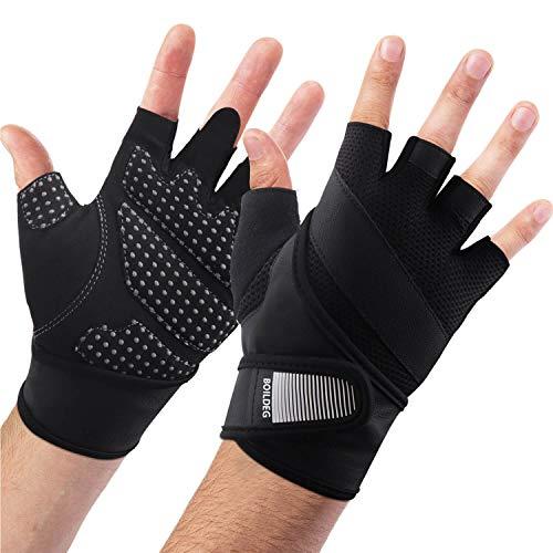 BOILDEG Fahrradhandschuhe Fingerlos Fitness Handschuhe Atmungsaktiv Rutschfestes Stoßdämpfende Radsporthandschuhe für MTB Fitness Damen und Herren
