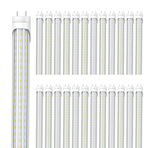(25-Pack) SHOPLED T8 T10 T12 LED Bulbs 4 Foot, 36W 5000K Daylight Tube Lights 4FT, 72W Fluorescent Light Bulb Replacement Ballast Bypass, Double Ended Power, Garage Kitchen Light