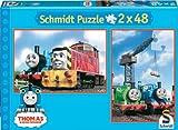 Schmidt Spiele–Thomas y Sus Amigos en Gran Viaje, 2x 48Piezas Puzzle