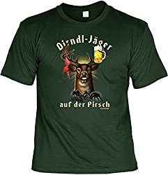 """Stammtischtour T-Shirt """"Dirndl-Jäger"""" in grün"""