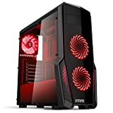EMPIRE GAMING - Boitier PC Gamer WareFare Noir - 3 Ventilateurs LED Rouge 120 mm - Paroi teinté et Transparent - Compatible...