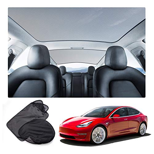 Naliovker Mesh Car Window Sun Shades,Car Sunroof Uv Rays Window Shade For Tesla Model 3
