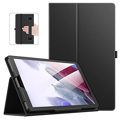 MoKo Funda Compatible con Samsung Galaxy Tab A7 Lite 8.7-Inch 2021 Tableta(SM-T227/SM-T225/SM-T220), Delgado Estuche Protector Soporte Plegable Smart Cover Stand Case con Banda Elástica, Negro