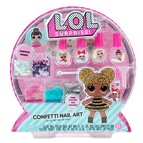 HURRY!- L.O.L. Surprise! Confetti Nail Art by Horizon Group USA, Make Your Own Nail Polish by Adding Glitter, Confetti, Gemstones & More.