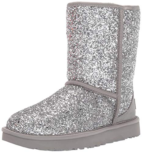 UGG Women's Classic Short Cosmos Fashion Boot, Silver, 5 M US