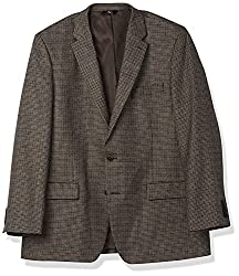 Haggar Mens Houndstooth Plaid Lambswool Classic Fit Sport Coat