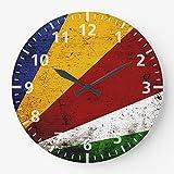 DKISEE Schwarze Vintage Retro Seychellen Flagge Wanduhr geräuschlos nicht tickend Holz dekorative r&e Wanduhr für Zuhause Büro Schule Dekor Uhr 25,4 cm el008