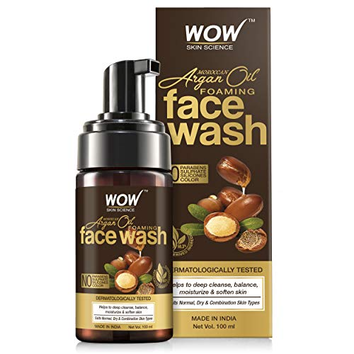 WOW Skin Science Moroccan Argan Oil Foaming Face Wash – contains Argan Oil & Aloe Extracts – for Dry to Normal Skin – No Parabens, Sulphate, Silicones & Synthetic Color, 100 ml