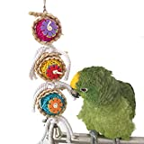 Kauspielzeug für Papageien/Vögel, natürlich, geeignet für Papageien, Sittiche, Aras, Graupapageien, Wellensittiche, mit Glocken