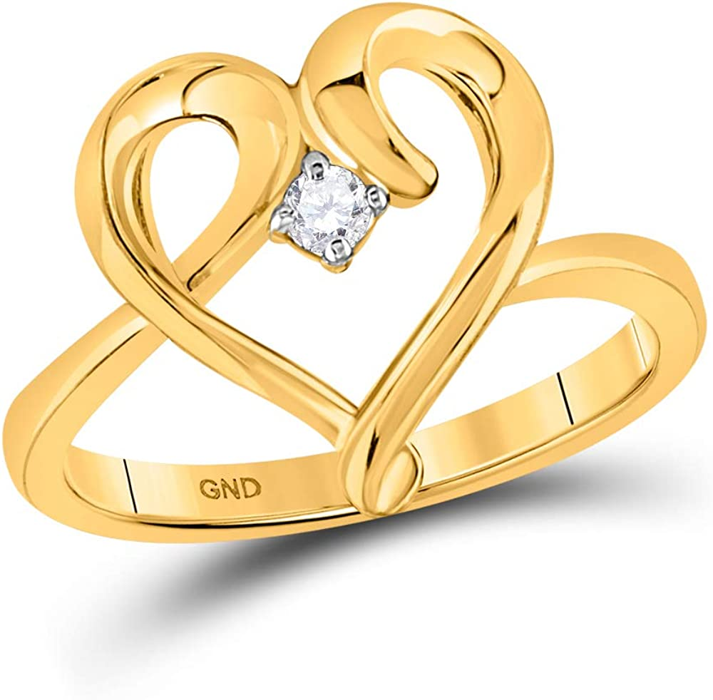 Dazzlingrock Collection 10kt Yellow Gold Womens Round Diamond Heart Promise Bridal Ring 1/20 ctw