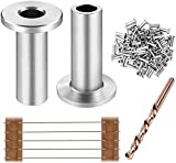 CKE 80 Pack T316 Stainless Steel Protector Sleeves for 1/8' Wire Rope Cable Railing, DIY Balustrade T316 Marine Grade, Come with A Free Drill Bit