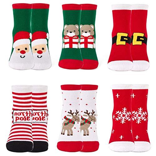 Kids Christmas Socks Boys Girls Winter Cotton Socks Xmas Holiday Thermal Crew Socks 6 Pack Size 3-9/4-6 Years