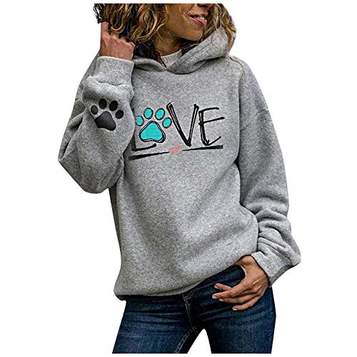 WYZTLNMA Women Fashion Puppy Claw Print Hoodie Letter Casual Love Printed Long Sleeves Sweatshirt Loose Tops Blouse Pullovers