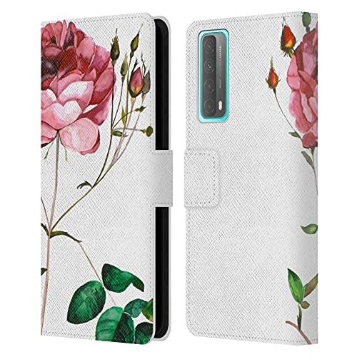 Head Case Designs Licenciado Oficialmente MAI Autumn Rosa Flores Florales Carcasa de Cuero Tipo Libro Compatible con Huawei P Smart (2021)