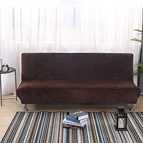 REACH Funda de sofá, Funda de Sofá Gruesa Color sólido Sofá Cover Felpa Estiramiento con Todo Incluido Sofá Cama Plegable Cubierta Sin Apoyabrazos Antideslizante Sofá Cover (Color : Dark Brown)