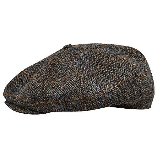 Sterkowski Peaky Blinders Cap | 100% Harris Tweed Newsboy Cap for Men | Newsboy Hats for Men 1920s Mens Hats Thomas Shelby hat Flat Cap for Men Scottish Cap Irish Derby Hat US 6 3/4 Brown/Blue Check