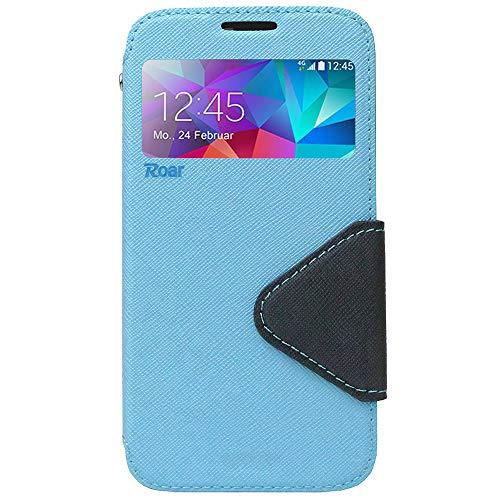 Roar Premium Hülle für Samsung Galaxy A3 2015 Handyhülle, Flip Hülle Schutzhülle Tasche Case für Samsung Galaxy A3 2015, Klapphülle mit Fenster in Hellblau