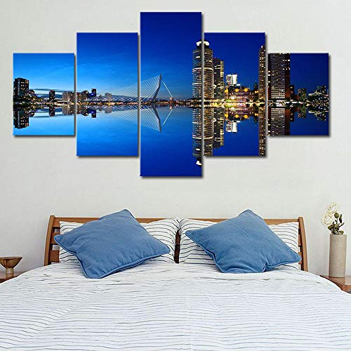 rkmaster-Rotterdam Holland stadsbeeld poster 5 panelen frame canvas schilderij muurkunst afbeelding afdrukken woonkamer cultuur