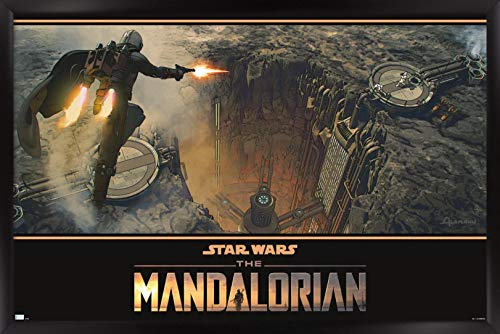 Trends International Star Wars: The Mandalorian Season 2 - Base Battle Wall Poster, 14.725' x 22.375', Black Framed Version