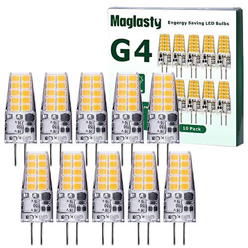 Bombillas LED G4, AC/DC 12V, 3W Equivalente a Lámparas Halógenas de 30W, Blanco Frio 6000K, Sin Parpadeo, No Regulable, Ángulo de haz de 360°, Paquete de 10