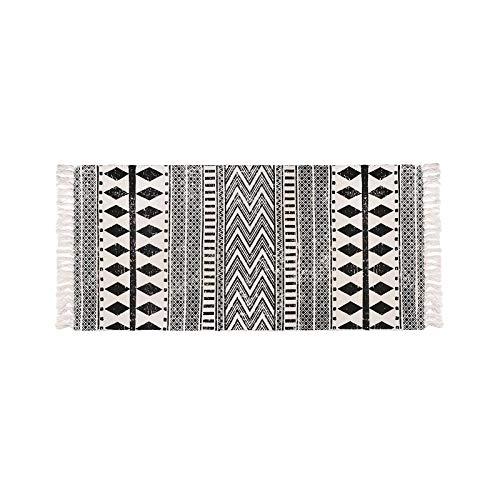 Katoenen karpetten Machinewasbare katoenen tapijten, Boheemse karpetten met zwart-wit print, met kwastjes voor badkamer woonkamer binnen en buiten 60x90 cm,Black