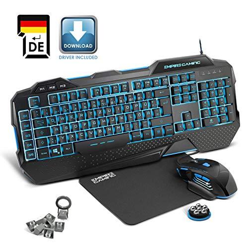 EMPIRE GAMING – Hellhounds Pack Gamer Tastatur, Maus und Mousepad - Halbmechanisch – 33 Parametrierbare Makros - 7 Tasten 7200 DPI - LED RGB Hintergrundbeleuchtung - USB Kabelgebunden