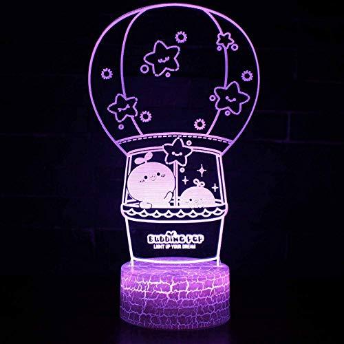 Iluminación de cabecera creativa 3D Led globo aerostático Luces nocturnas 7 Cambio de color Modelado de dibujos animados Lámpara de escritorio Decoración para el hogar Regalos