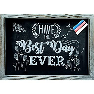 Rustic Wooden Framed Chalkboard 15  x 11  Easy to Clean, Non-Porous, Stand or Hanged, Comes with 3 Color Chalks - Perfect Decor for Your Home, Bedroom, Kitchen, Office, Wedding, Restaurant & Bar