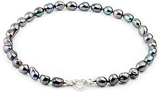 Roapk Moda Grande Collana di Perle Barocche Nere per Le Donne, Regalo di Compleanno Collana di Perle d'Acqua Dolce 10-11Mm