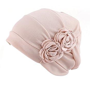HONENNA Chemo Turban Headband Scarf Beanie Cap Hat for Cancer Patient  Cream-Coloured