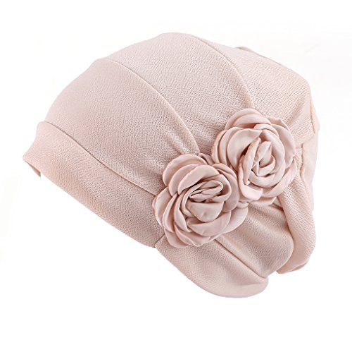 HONENNA Chemo Turban Headband Scarf Beanie Cap Hat for Cancer Patient (Cream-Coloured)